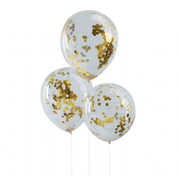 Gold Confetti Balloons - pack of 5